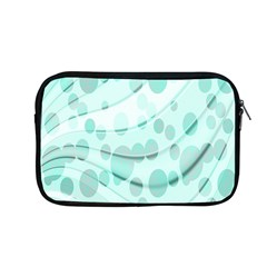 Abstract Background Teal Bubbles Abstract Background Of Waves Curves And Bubbles In Teal Green Apple Macbook Pro 13  Zipper Case by Simbadda