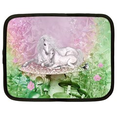 Wonderful Unicorn With Foal On A Mushroom Netbook Case (large) by FantasyWorld7