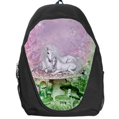 Wonderful Unicorn With Foal On A Mushroom Backpack Bag by FantasyWorld7