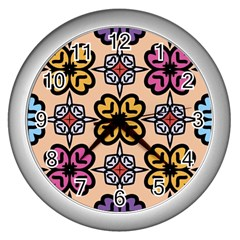 Abstract Seamless Background Pattern Wall Clocks (silver)