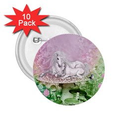 Wonderful Unicorn With Foal On A Mushroom 2 25  Buttons (10 Pack)  by FantasyWorld7