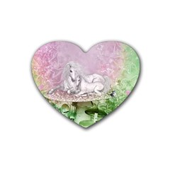 Wonderful Unicorn With Foal On A Mushroom Rubber Coaster (heart)  by FantasyWorld7