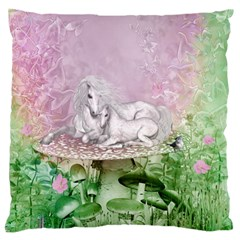 Wonderful Unicorn With Foal On A Mushroom Large Flano Cushion Case (two Sides) by FantasyWorld7
