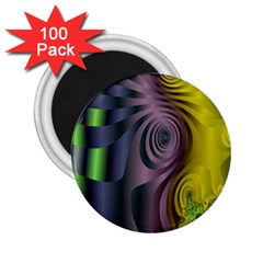 Fractal In Purple Gold And Green 2 25  Magnets (100 Pack)  by Simbadda