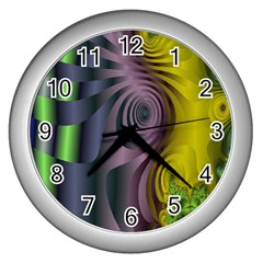 Fractal In Purple Gold And Green Wall Clocks (silver)  by Simbadda