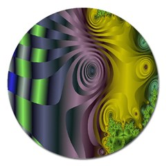 Fractal In Purple Gold And Green Magnet 5  (round) by Simbadda