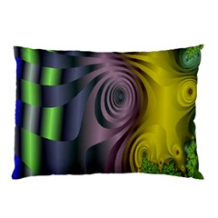 Fractal In Purple Gold And Green Pillow Case (two Sides) by Simbadda