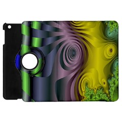 Fractal In Purple Gold And Green Apple Ipad Mini Flip 360 Case