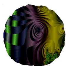 Fractal In Purple Gold And Green Large 18  Premium Round Cushions