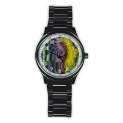 Fractal In Purple Gold And Green Stainless Steel Round Watch by Simbadda