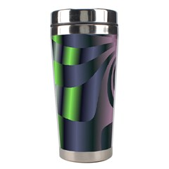 Fractal In Purple Gold And Green Stainless Steel Travel Tumblers by Simbadda