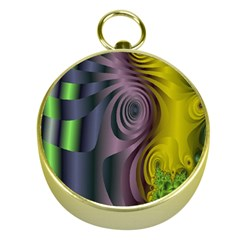 Fractal In Purple Gold And Green Gold Compasses by Simbadda