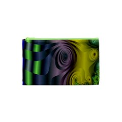 Fractal In Purple Gold And Green Cosmetic Bag (xs) by Simbadda