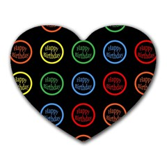 Happy Birthday Colorful Wallpaper Background Heart Mousepads by Simbadda