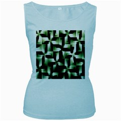 Green Black And White Abstract Background Of Squares Women s Baby Blue Tank Top