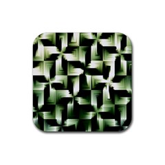 Green Black And White Abstract Background Of Squares Rubber Coaster (square)
