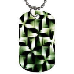 Green Black And White Abstract Background Of Squares Dog Tag (two Sides)