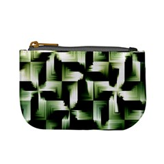 Green Black And White Abstract Background Of Squares Mini Coin Purses