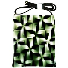 Green Black And White Abstract Background Of Squares Shoulder Sling Bags by Simbadda