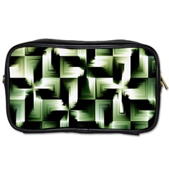 Green Black And White Abstract Background Of Squares Toiletries Bags 2 Side