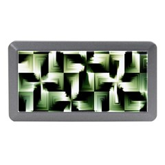 Green Black And White Abstract Background Of Squares Memory Card Reader (mini) by Simbadda