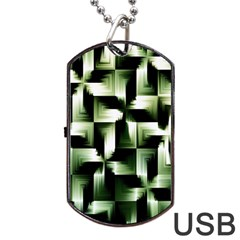 Green Black And White Abstract Background Of Squares Dog Tag Usb Flash (one Side) by Simbadda