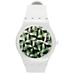 Green Black And White Abstract Background Of Squares Round Plastic Sport Watch (m) by Simbadda
