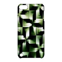Green Black And White Abstract Background Of Squares Apple Ipod Touch 5 Hardshell Case With Stand by Simbadda