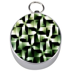 Green Black And White Abstract Background Of Squares Silver Compasses by Simbadda