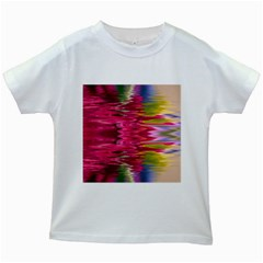 Abstract Pink Colorful Water Background Kids White T Shirts