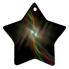 Colorful Waves With Lights Abstract Multicolor Waves With Bright Lights Background Ornament (star)