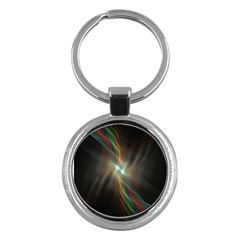 Colorful Waves With Lights Abstract Multicolor Waves With Bright Lights Background Key Chains (round)  by Simbadda