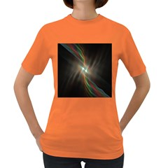 Colorful Waves With Lights Abstract Multicolor Waves With Bright Lights Background Women s Dark T Shirt by Simbadda