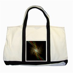 Colorful Waves With Lights Abstract Multicolor Waves With Bright Lights Background Two Tone Tote Bag by Simbadda