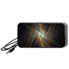 Colorful Waves With Lights Abstract Multicolor Waves With Bright Lights Background Portable Speaker (black) by Simbadda