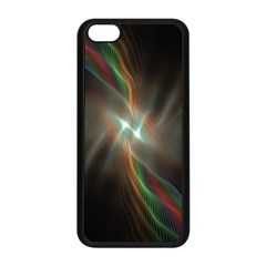 Colorful Waves With Lights Abstract Multicolor Waves With Bright Lights Background Apple Iphone 5c Seamless Case (black) by Simbadda