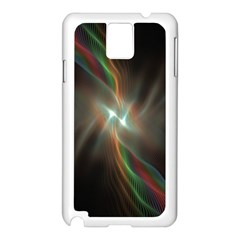 Colorful Waves With Lights Abstract Multicolor Waves With Bright Lights Background Samsung Galaxy Note 3 N9005 Case (white)