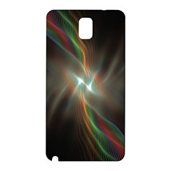Colorful Waves With Lights Abstract Multicolor Waves With Bright Lights Background Samsung Galaxy Note 3 N9005 Hardshell Back Case by Simbadda