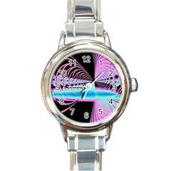 Blue And Pink Swirls And Circles Fractal Round Italian Charm Watch