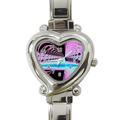 Blue And Pink Swirls And Circles Fractal Heart Italian Charm Watch by Simbadda