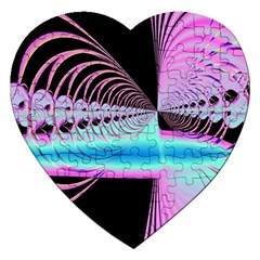 Blue And Pink Swirls And Circles Fractal Jigsaw Puzzle (heart) by Simbadda