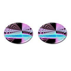 Blue And Pink Swirls And Circles Fractal Cufflinks (oval) by Simbadda