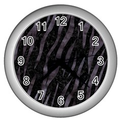 Skin3 Black Marble & Black Watercolor Wall Clock (silver) by trendistuff