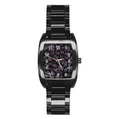 Skin1 Black Marble & Black Watercolor Stainless Steel Barrel Watch by trendistuff