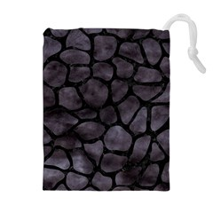 Skin1 Black Marble & Black Watercolor Drawstring Pouch (xl) by trendistuff
