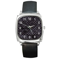 Sca3 Bk Mrbl Bk Wclr (r) Square Metal Watch by trendistuff