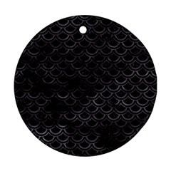 Scales2 Black Marble & Black Watercolor Round Ornament (two Sides) by trendistuff