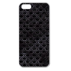 Scales2 Black Marble & Black Watercolor Apple Seamless Iphone 5 Case (clear) by trendistuff