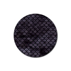 Scales1 Black Marble & Black Watercolor (r) Rubber Round Coaster (4 Pack) by trendistuff