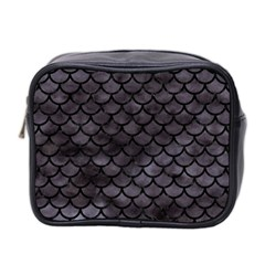 Scales1 Black Marble & Black Watercolor (r) Mini Toiletries Bag (two Sides) by trendistuff